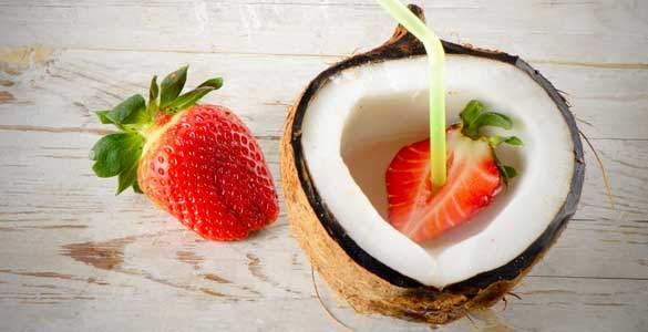 morango e agua de coco