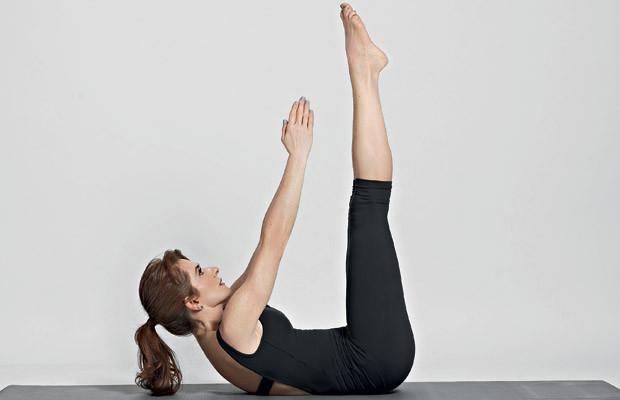 abdominal com os pés elevados